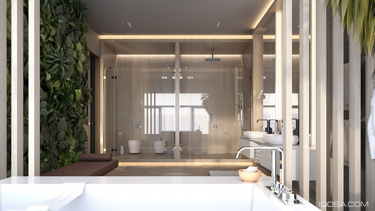 Spacious Bathroom Layout Ideas - A sophisticated home with natural themes outside of kiev