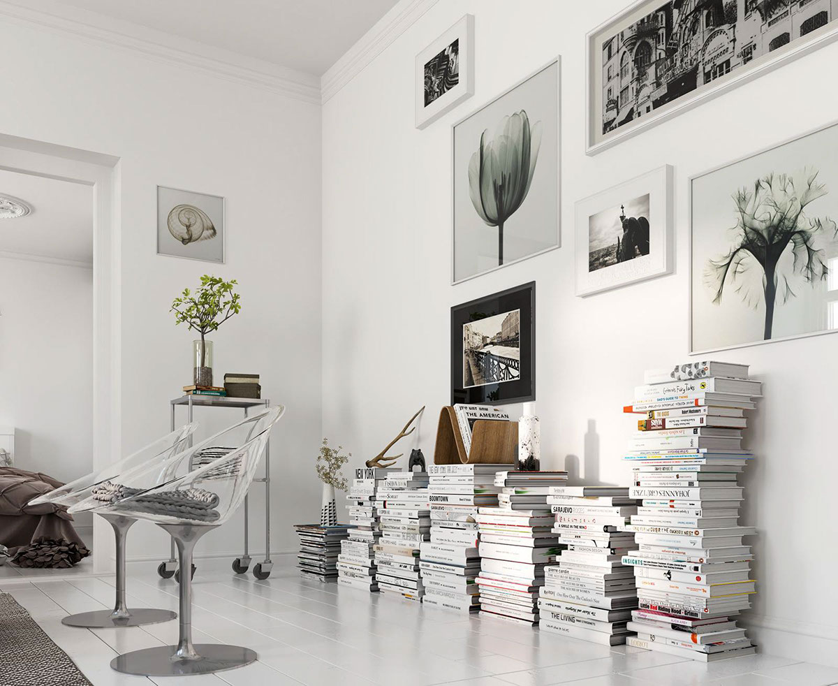 Stylish Way To Use Books As Tables - Bright scandinavian decor in 3 small one bedroom apartments