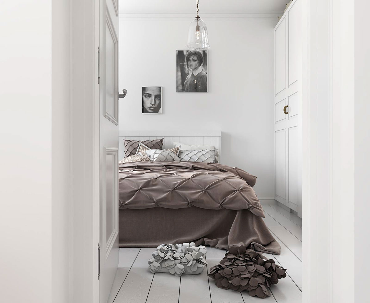Textural Upholstery In Minimalist Bedroom - Bright scandinavian decor in 3 small one bedroom apartments