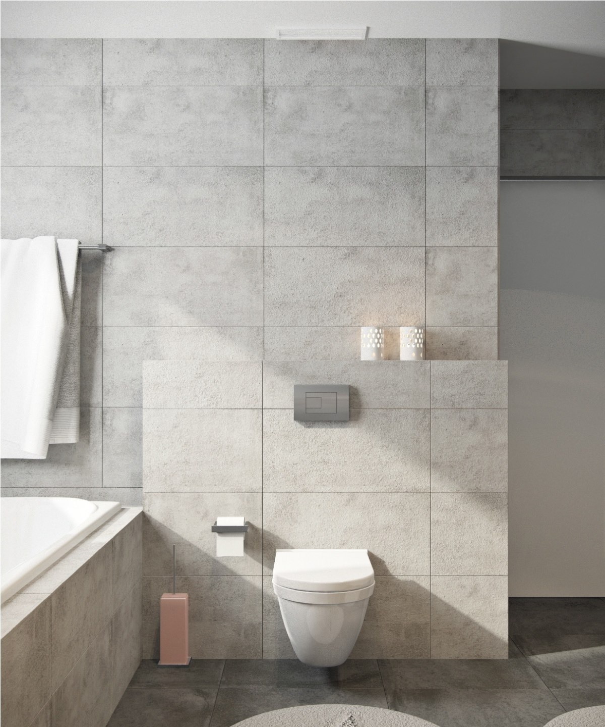 Tiled Bathroom Toilet White Towel White Candle - Beautiful modern minimalist loft with a view