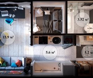 tiny studio apartment layout inspiration
