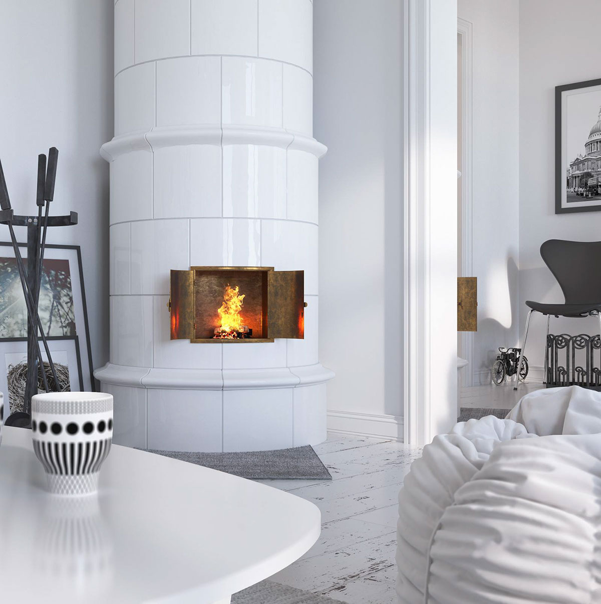 Traditional Scandinavian Porcelain Stove - Bright scandinavian decor in 3 small one bedroom apartments