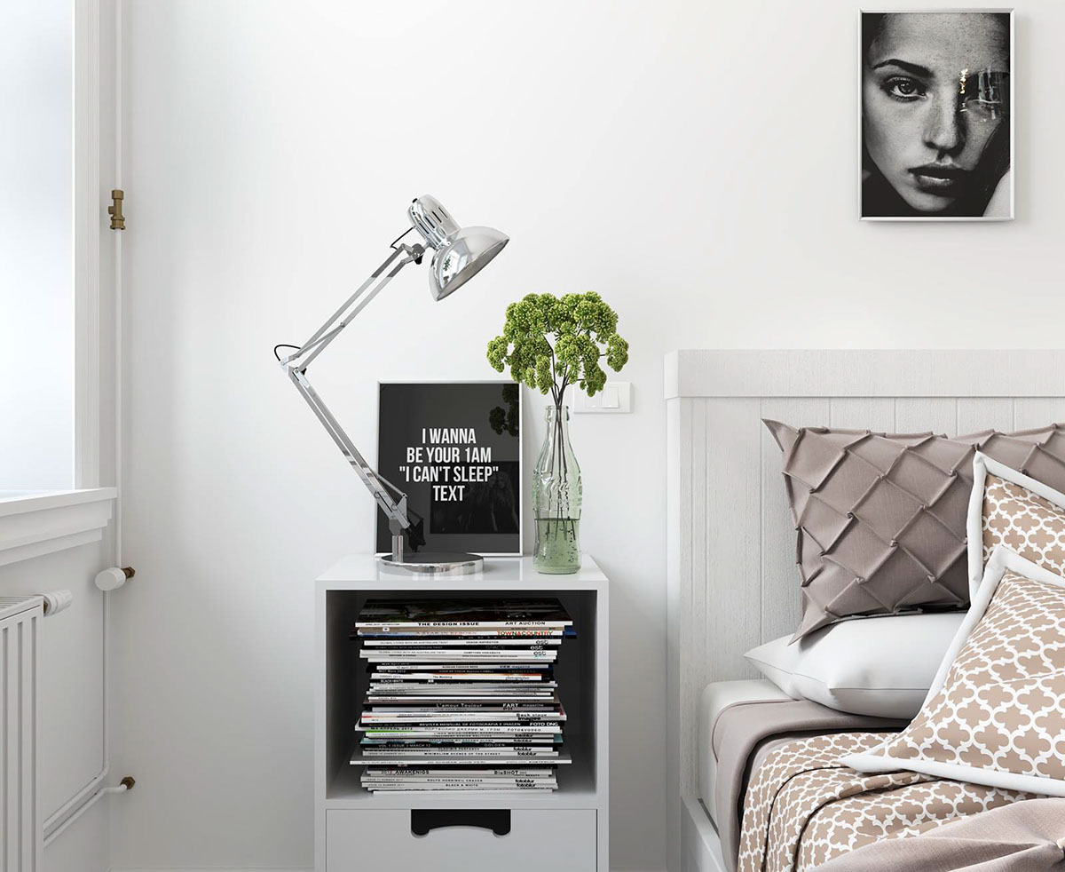 Typography And Patterns In Scandinavian Home Design - Bright scandinavian decor in 3 small one bedroom apartments