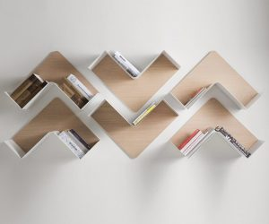 Fishbone Shelf: This collection is artistic, modular, and flexible. Rotate the shelves whichever way you'd like – the unique shape embraces books from any angle. These would look wonderful within a modern Scandinavian style interior.