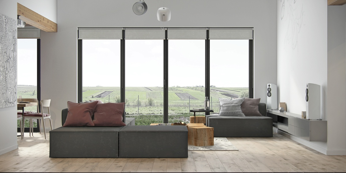 View From Window Living Room Sectional Sofa White Speakers - Beautiful modern minimalist loft with a view