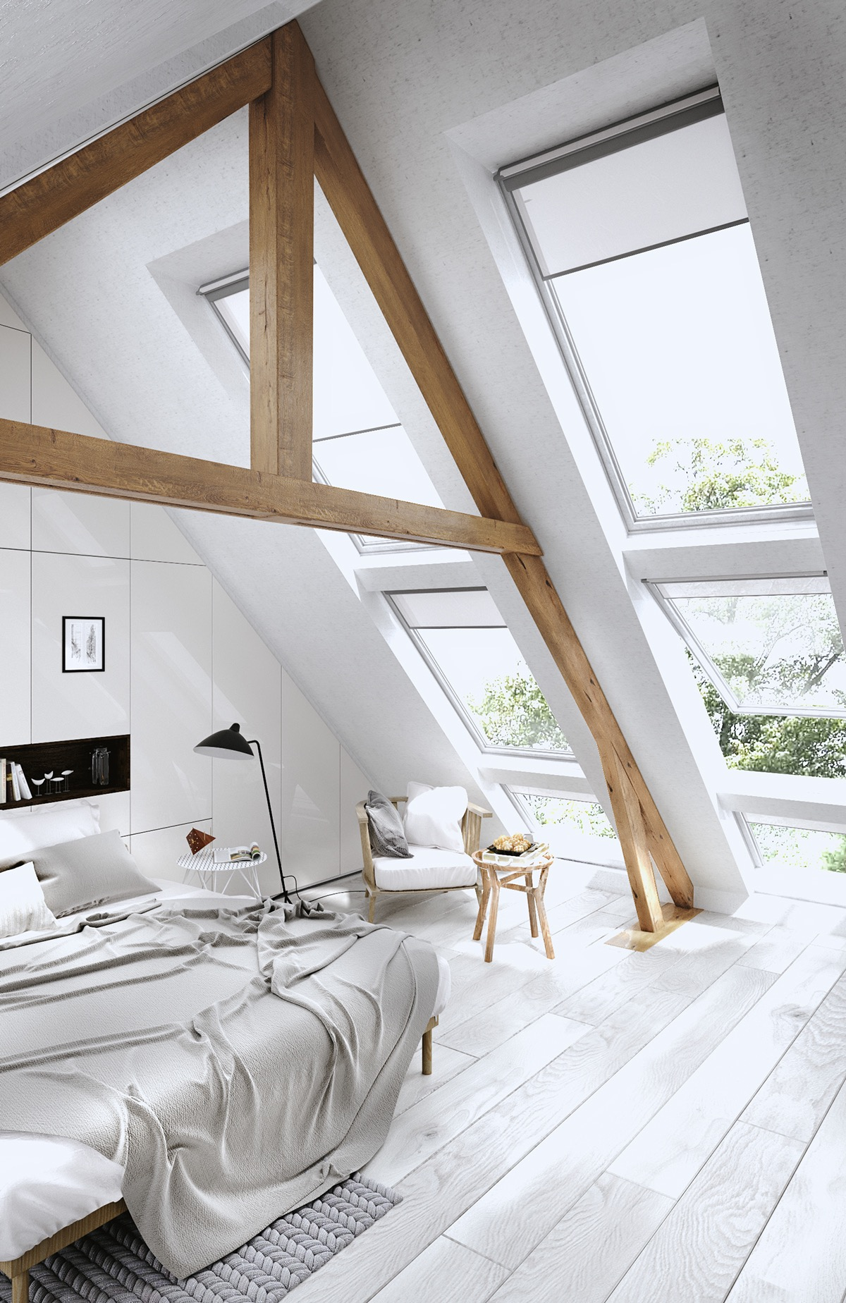 White Dreamy Attic Wood Beams - 25 amazing attic bedrooms that you would absolutely enjoy sleeping in
