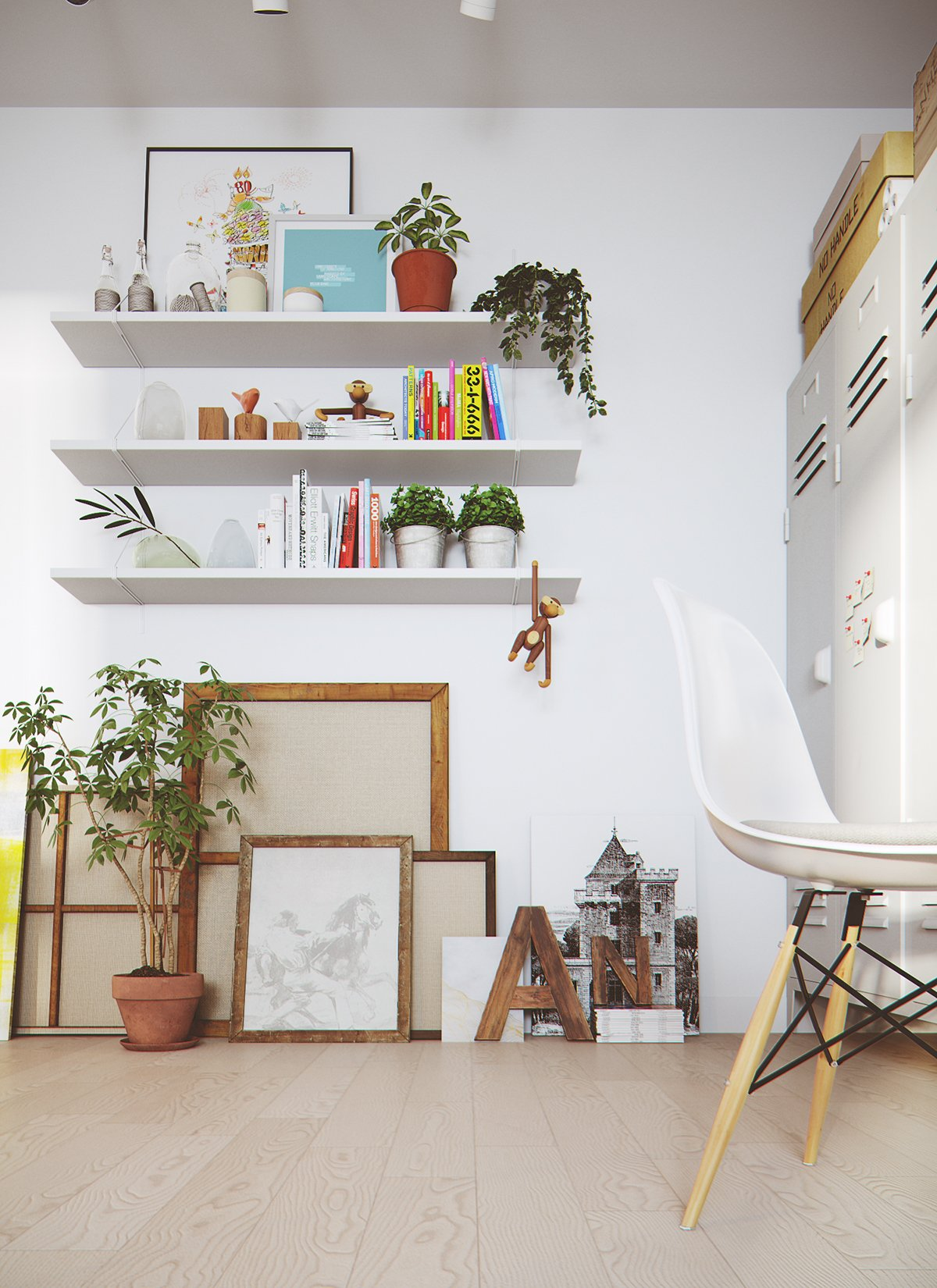 White Shelves Greenery Wood Frames - 2 stunningly beautiful homes decorated in modern scandinavian style