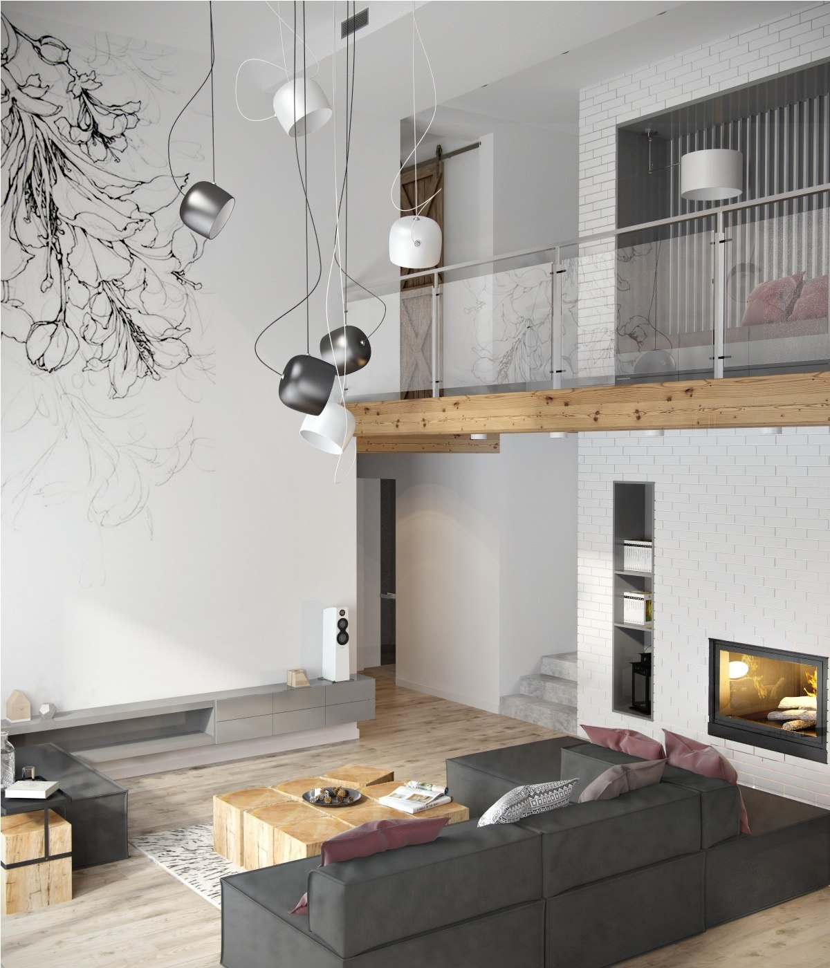 Beautiful modern minimalist loft with a view for Luminaire suspension sejour