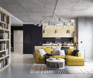 Visualized by Denis Bespalov, this loft uses sunny yellow to add a pop of color to the space. Concrete walls and floors are warmed up by natural wood cabinets in the kitchen and bookshelves.