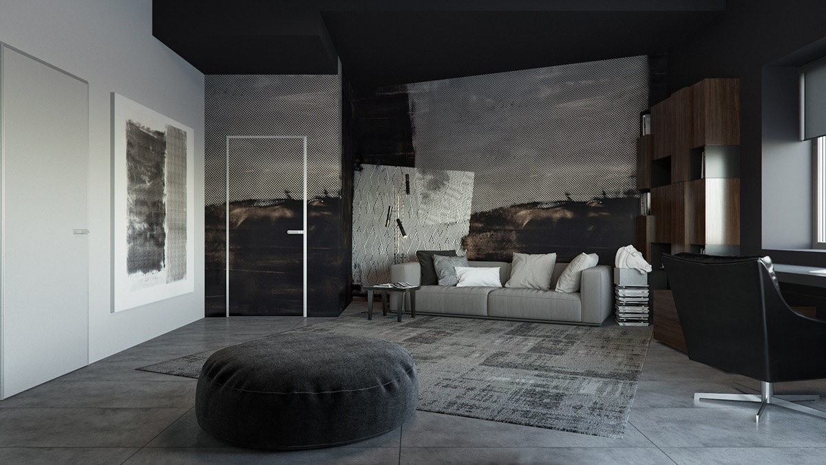 Black elements hold fort in cushioned ottomans, functional desks, stencil shelving and screened technology. Breaking the feature wall piece with an outlined door frame, subtle grey shades are transferred a painting and wall over.
