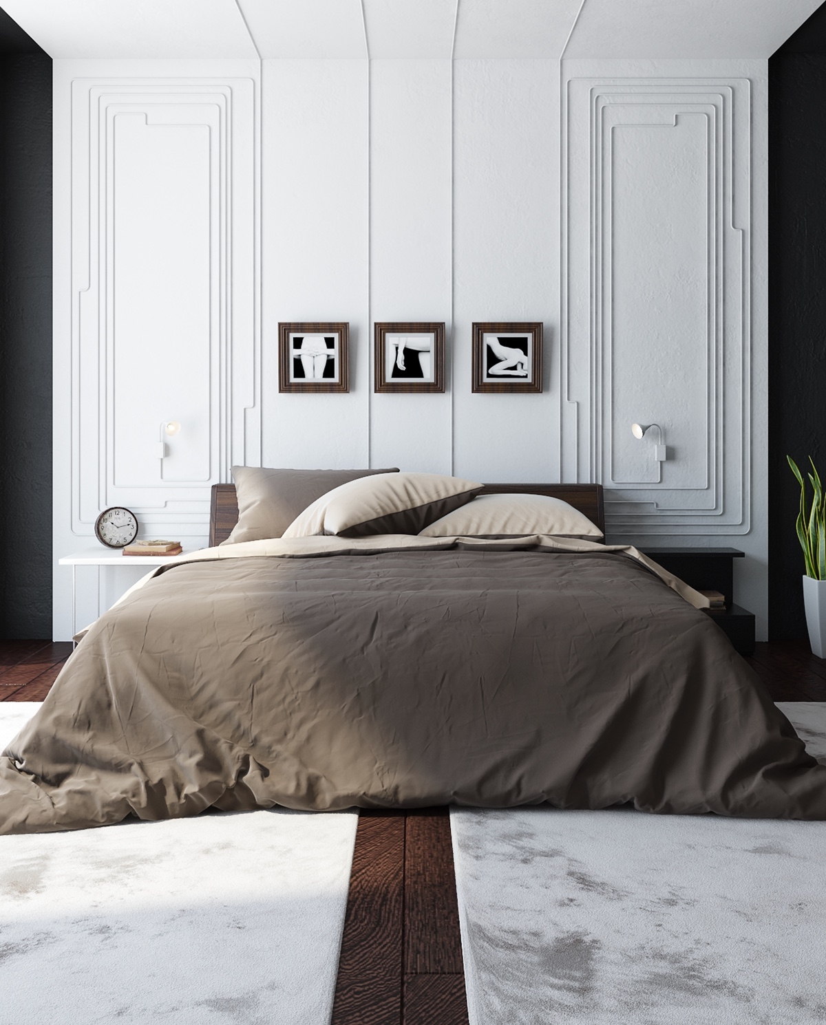 Cheeky elements can be hidden in less-bold colouring. Semi-Georgian white panelling holds a triptych series sexual in nature, while similarly-hued bedding introduces the serious.
