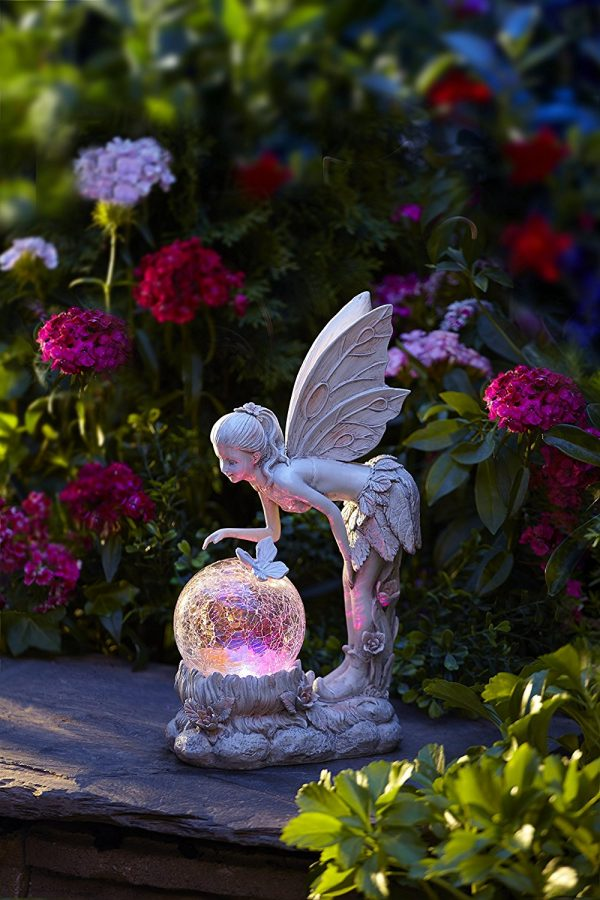 Fairy With Color-Changing Globe: Give the present of grace with this pink-hued fairy, bending down to see the future. Perfect for children and high wooden benches, she lets a little mysticism develop outside.