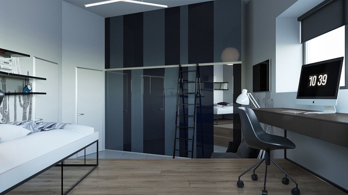 black-and-charcoal-striped-bedroom-mirrored-wardrobe-functional