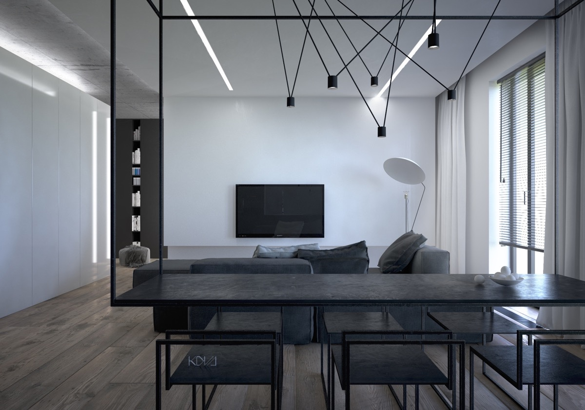 black-granite-hanging-bench-black-stencil-chairs-kitchen-and-living-area