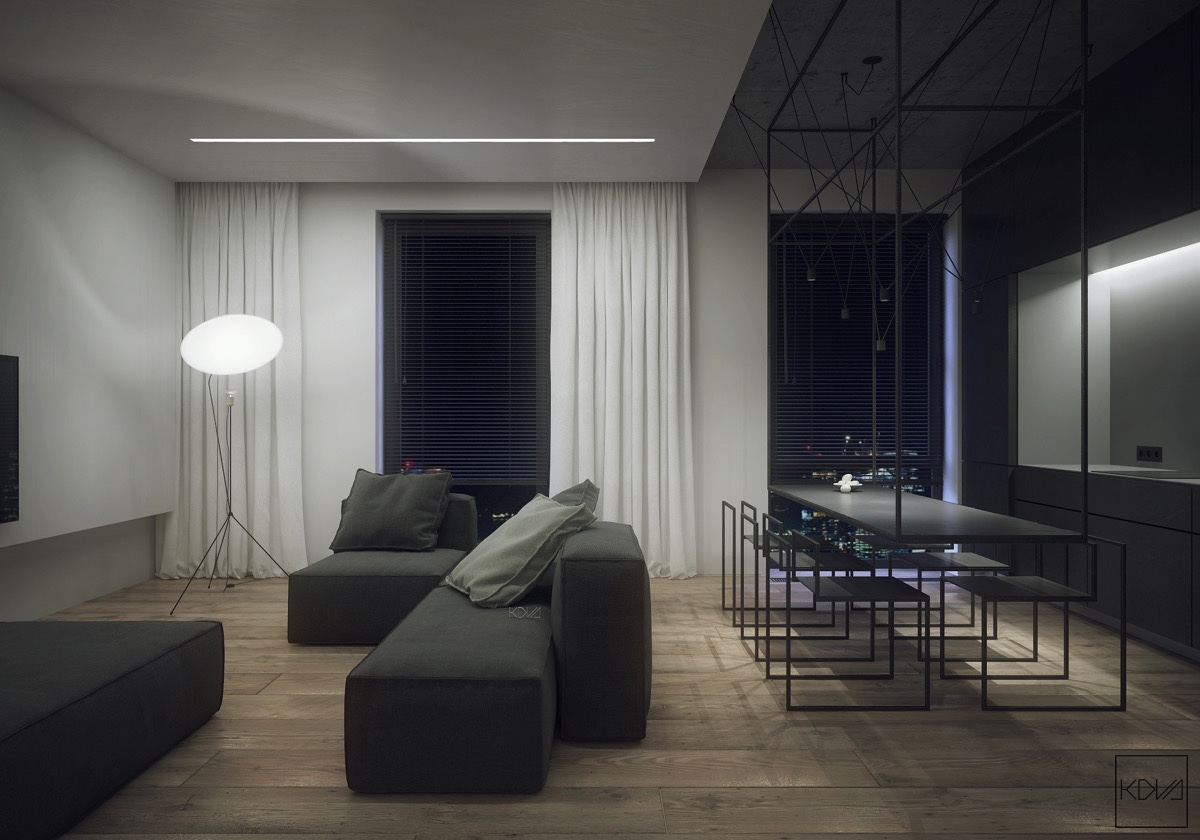 black-granite-hanging-dining-table-photographers-standing-lamp-living-area