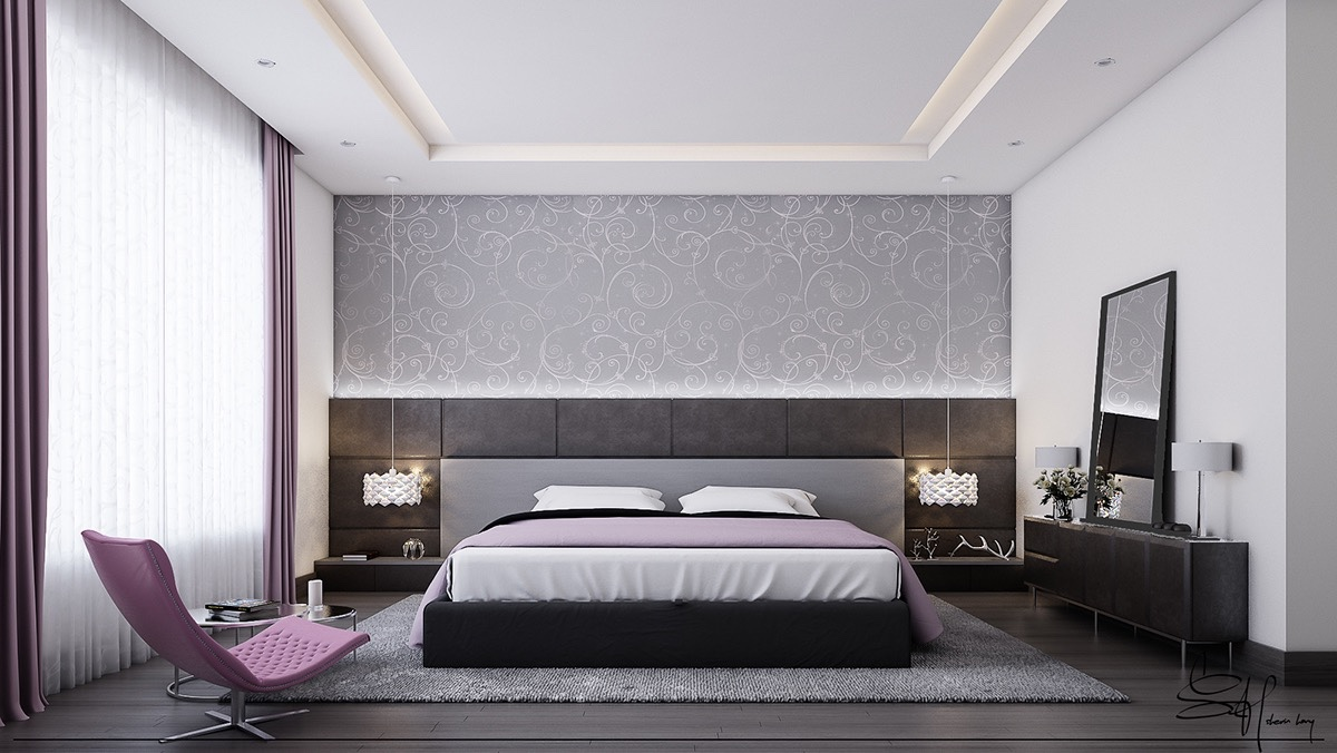 A bedroom can, of course, be more feminine. A boudoir style in this bedroom matches perfectly with grey and violet accents and Florentine pattern backgrounding.