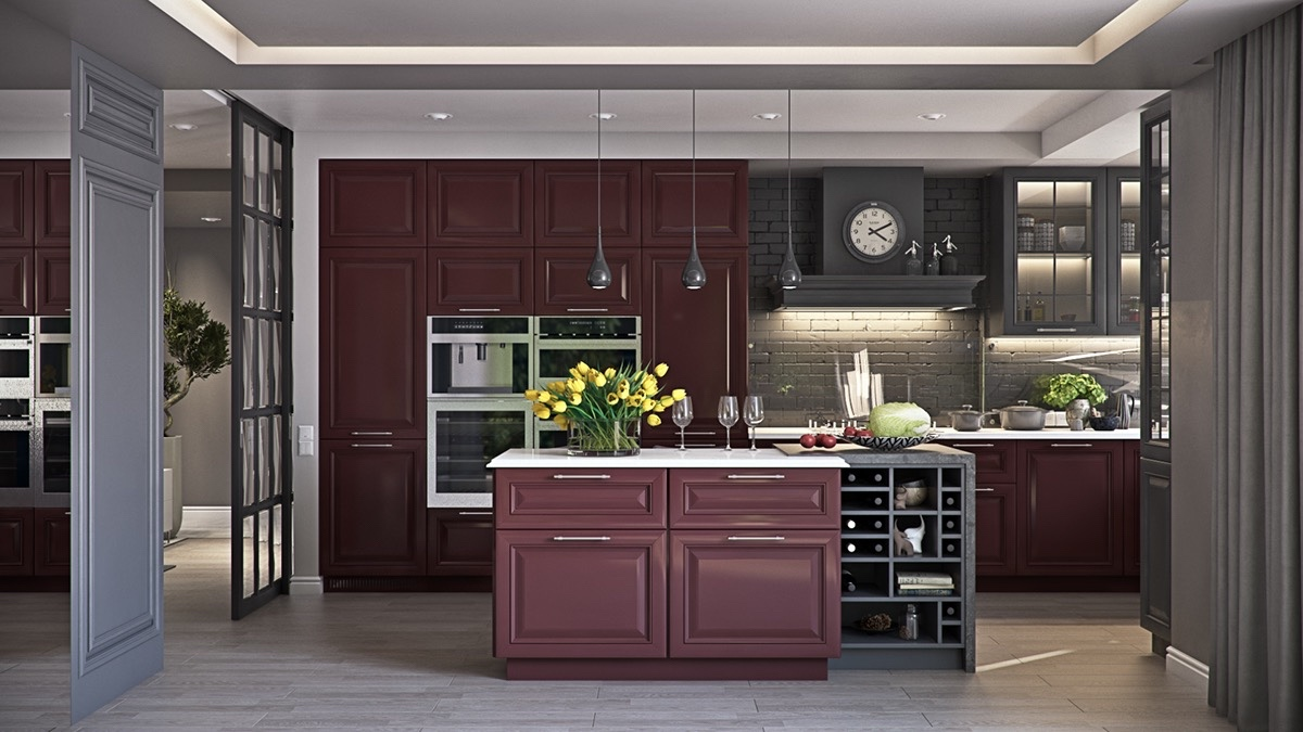 charcoal-and-mahogany-kitchen-glazed-cabinetry-oval-clock