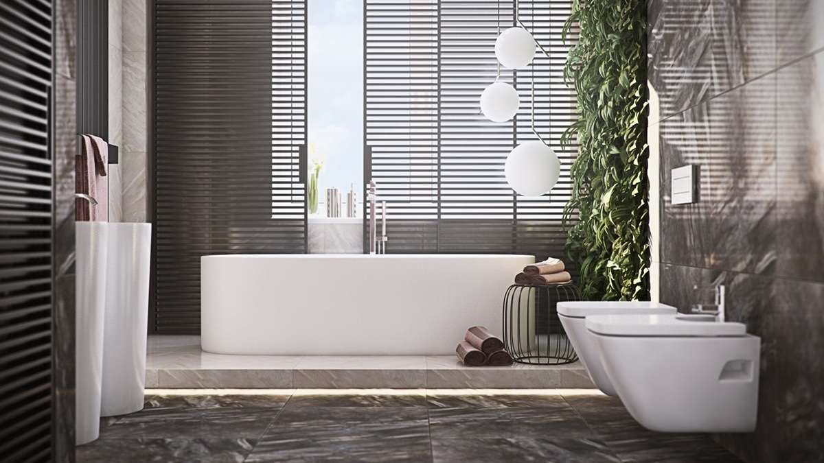 charcoal-venetian-blinds-three-chinese-lamps-porcelain-hand-sink-bathroom