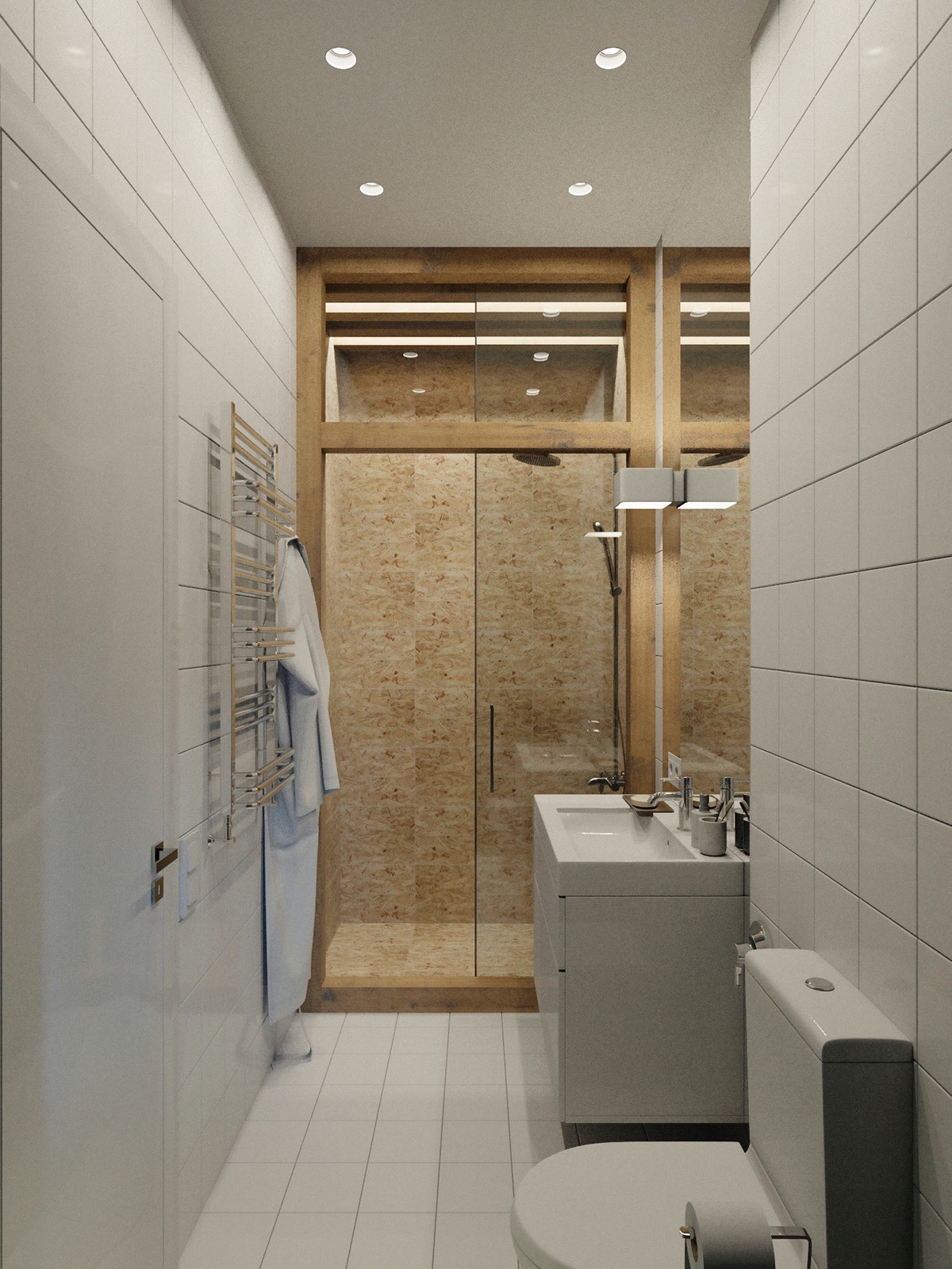 Through a corridor serving as a walk-in wardrobe, the bathroom beckons with similar features. A cork-walled shower, white tiling and high wooden frames give the illusion of space through using height and muted materials. Chrome fixtures finish off the space.