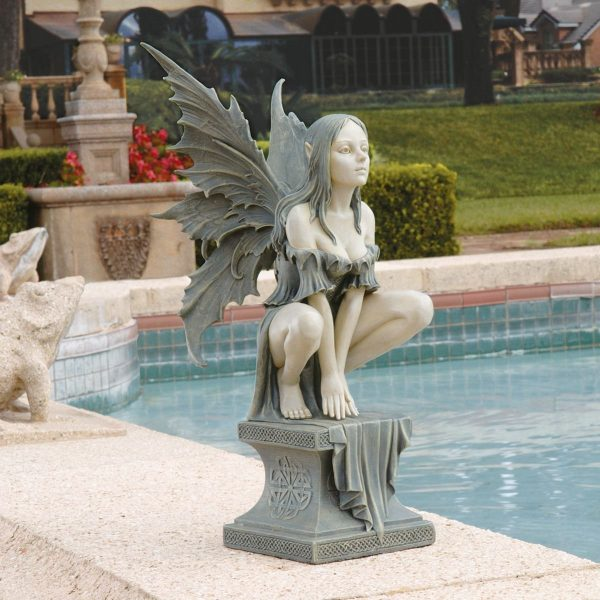 Celtic Fairy Statue: Secure the luck of the Irish with this crouching fairy statue, resplendent in grey-green and cream. Hovering on a plinth, she works on flat surfaces where she can view the plains ahead.