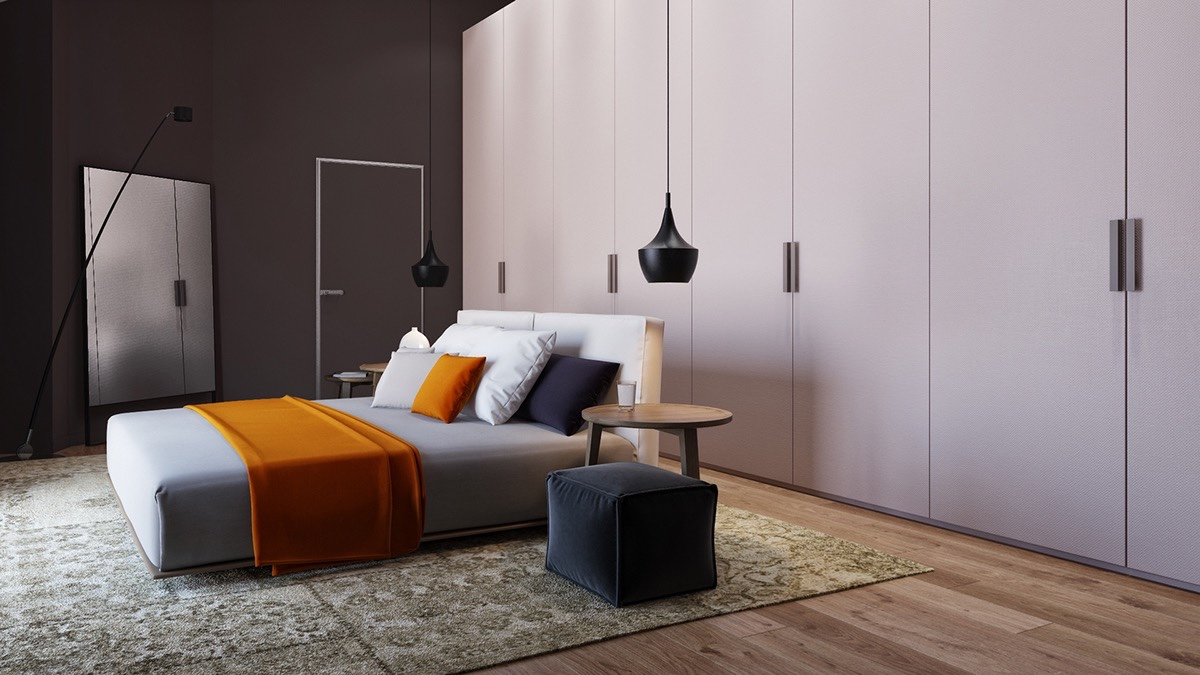 functionalist-bedroom-white-and-brown-panelling-striking-orange-bed-throw