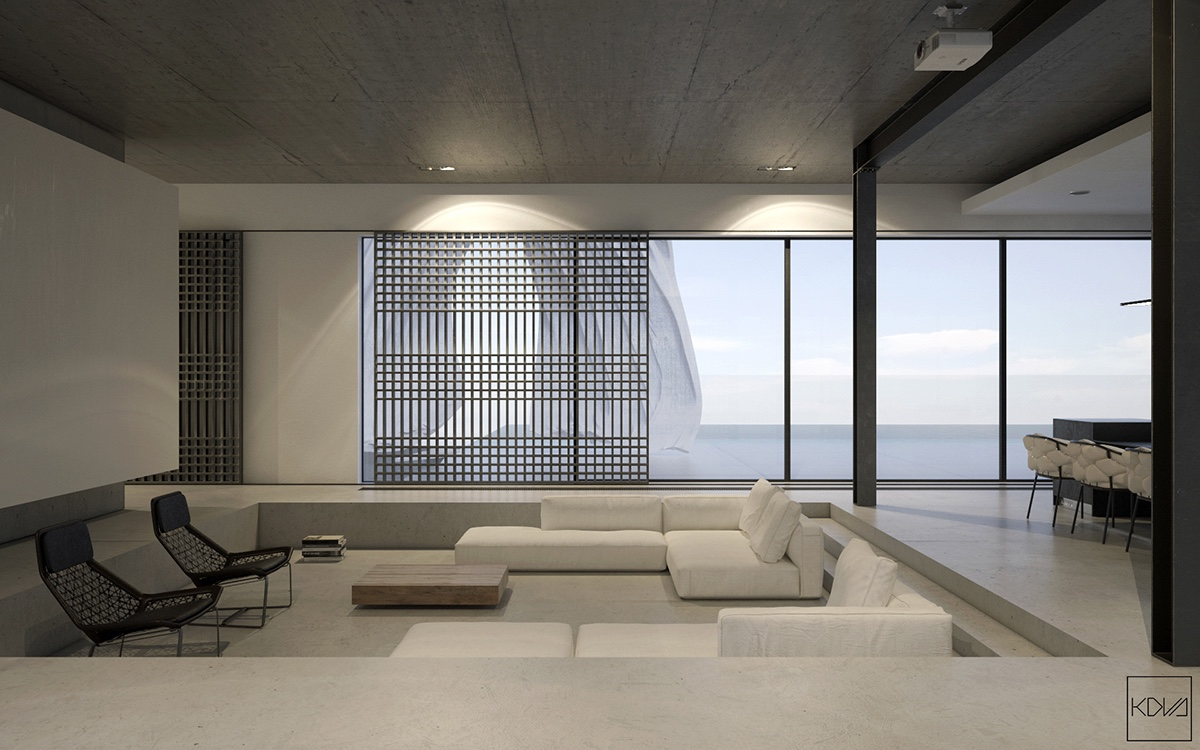 3 minimalist monochromatic homes with modern lighting for Minimalist lounge