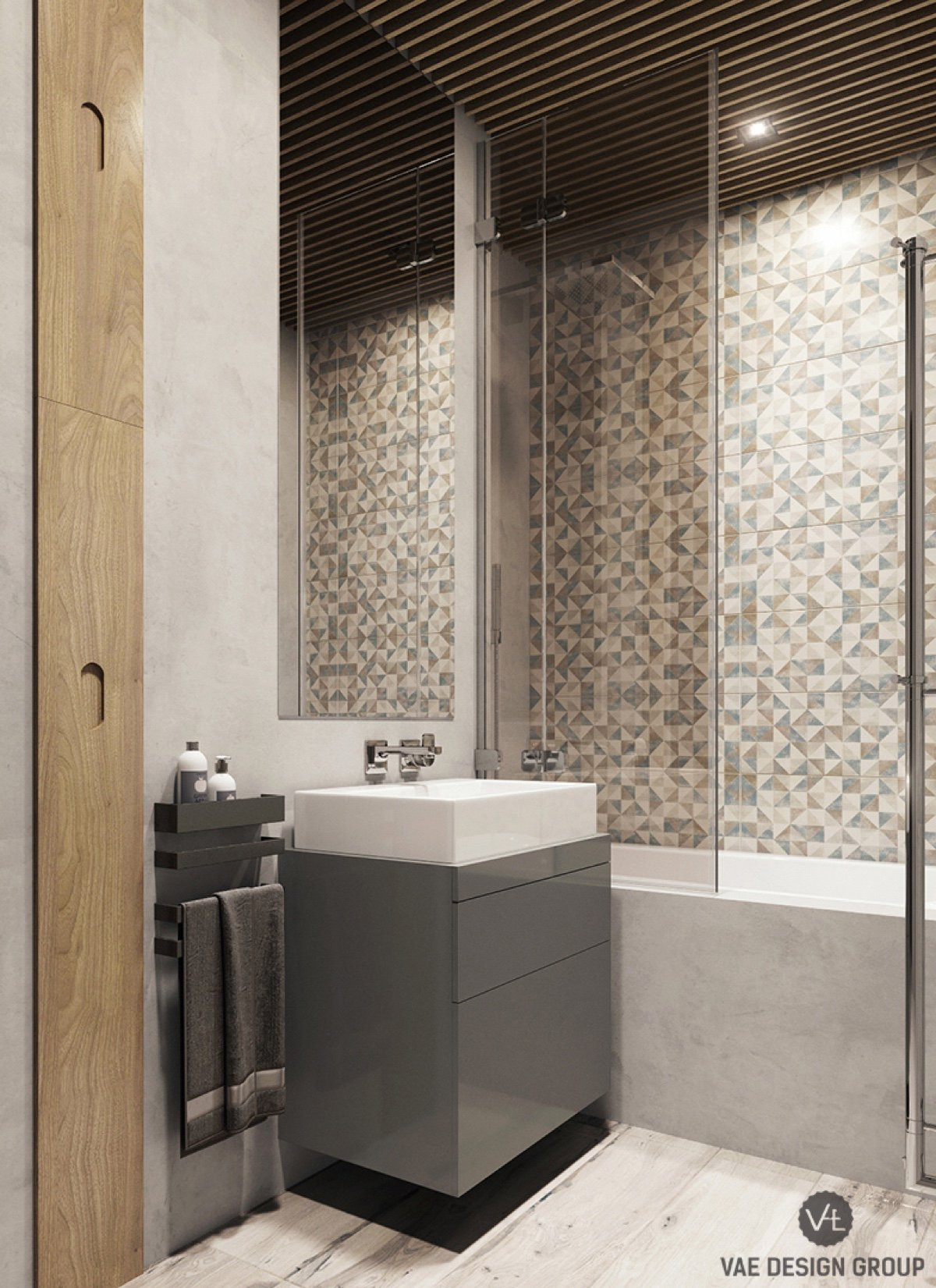 grey-and-wooden-teak-bathroom-interspersed-grey-and-white-tiling