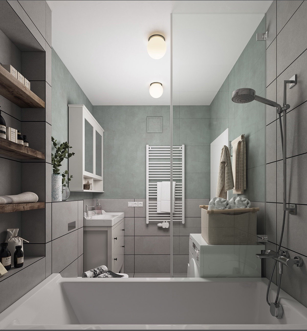 The bathroom takes on a softer side to framing, with a block cabinet and bath in white ceramic. A light teal tint and towelling offers a feminine touch to a space for pampering. Wooden shelving and small potted plants fill the room with nature.
