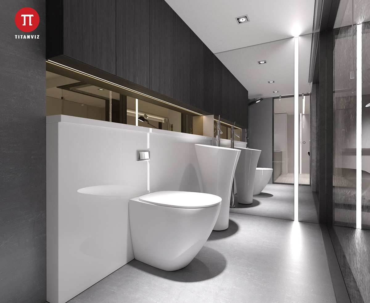 Black wooden panelling in the bathroom is held by white porcelain walls and amenities. A shaft of white light shines through the mirror, a guiding light for the visitor's eye.