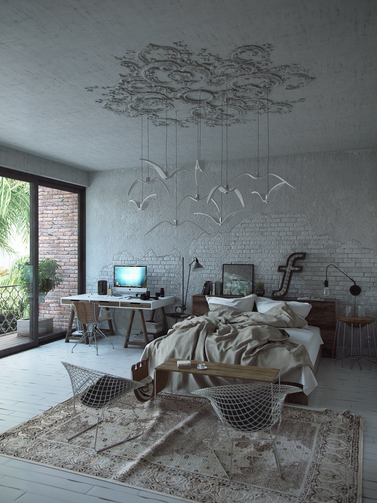 A minimalistic bedroom is a perfect place for artistic overtones. This almost-industrial room exposes brick walls and bird motifs hanging from Victorian wall patterning. Wood mesh textures and an italic 'f' bring modernity.