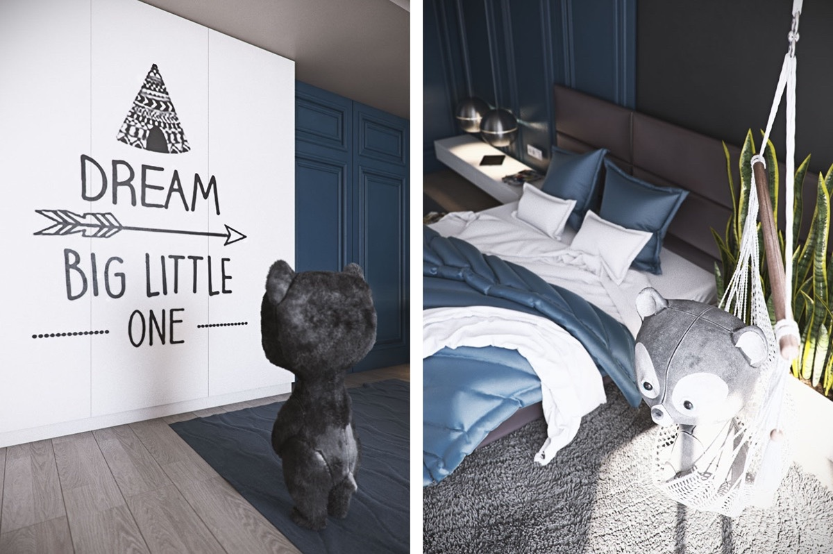 inspirational-quote-feature-wall-anime-bear-in-crocheted-hammock-bedroom