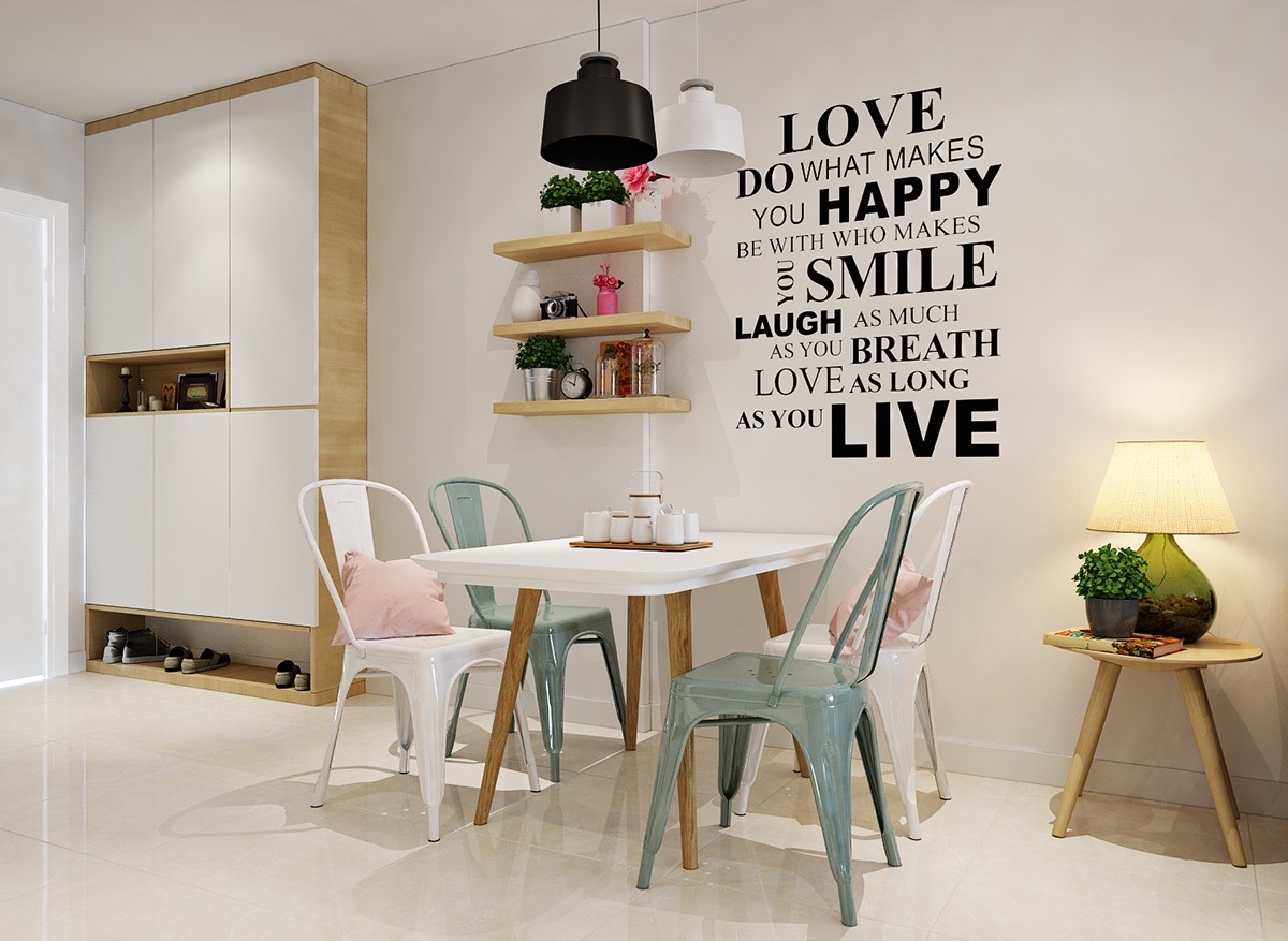 A feature quote in striking black hits the white wall, an impact felt throughout the space. Alternate white and teal school chairs offer a space to tired diners. Hanging wall shelves add functionality.