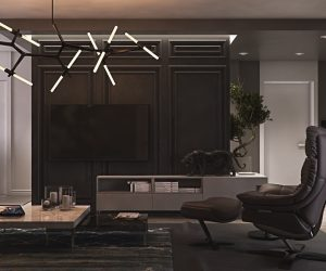 Entering into the living room, understated black cabinetry strikes the eye, peppered with abstract LED light fixtures. A charcoal leather chair and ottoman sit before a crafted bonsai and enamel tiger, artistic additions to the room. Low-lying lacquered tables break the black.