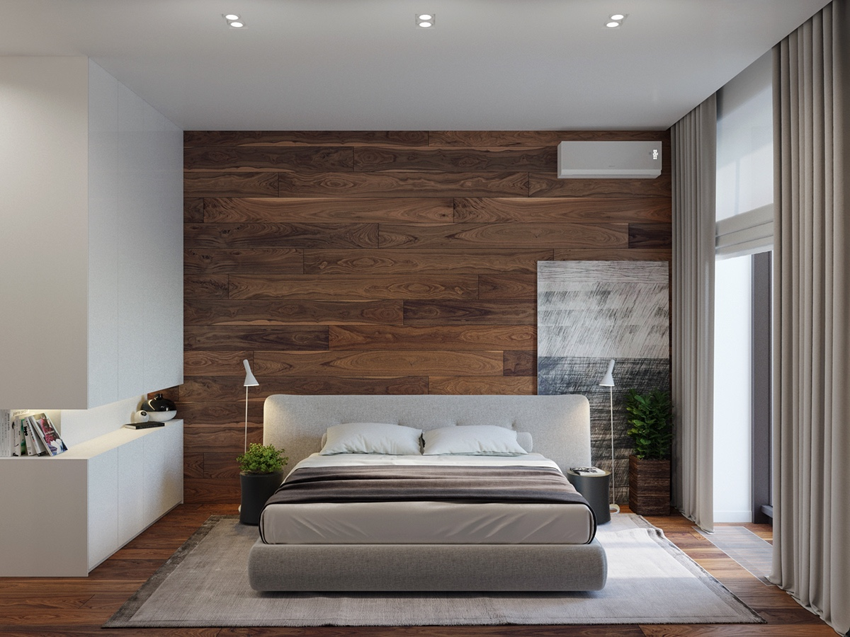 Rustic beauty in an inner city apartment for Wood wallpaper bedroom