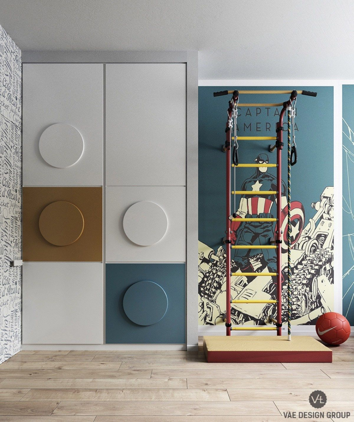 The kids' bedroom and study injects more play. Lego-esque circles feature on cupboard walls and desk chairs in mustard and teal, tones bright but reserved enough for an office. Twin inlets framed by stone allow Batman and Superman feature walls to battle it out, while cross-matching duvet covers fit rather than match. Under-bed cabinetry hides away the toys.