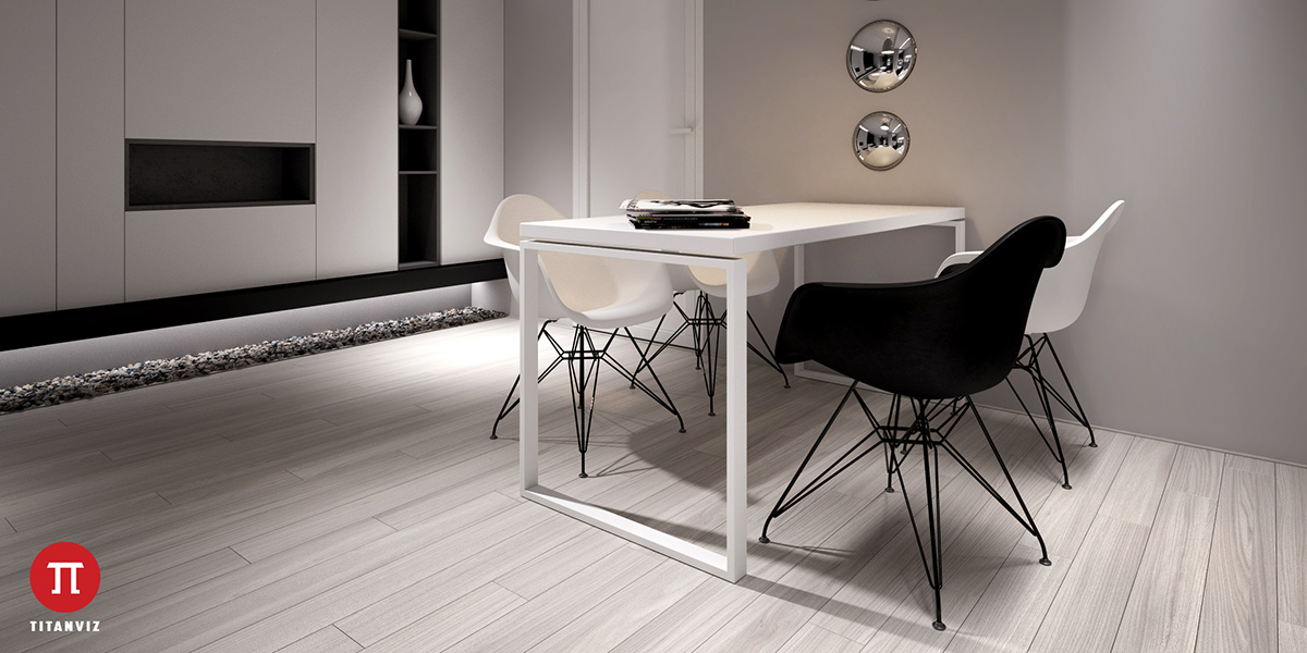 light-wooden-floors-side-pebbled-area-black-and-white-dining-area