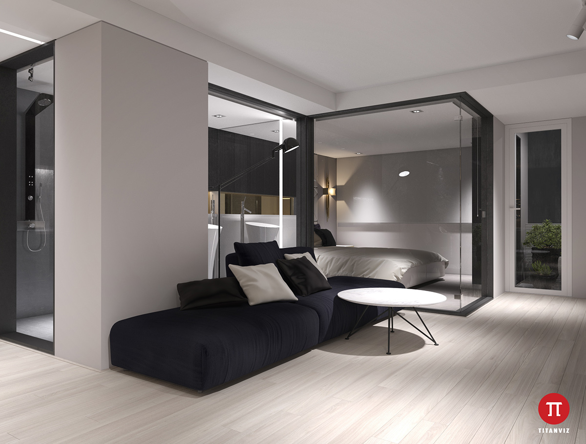 living-area-see-through-bedroom-cubicle-low-lying-black-and-white-couches