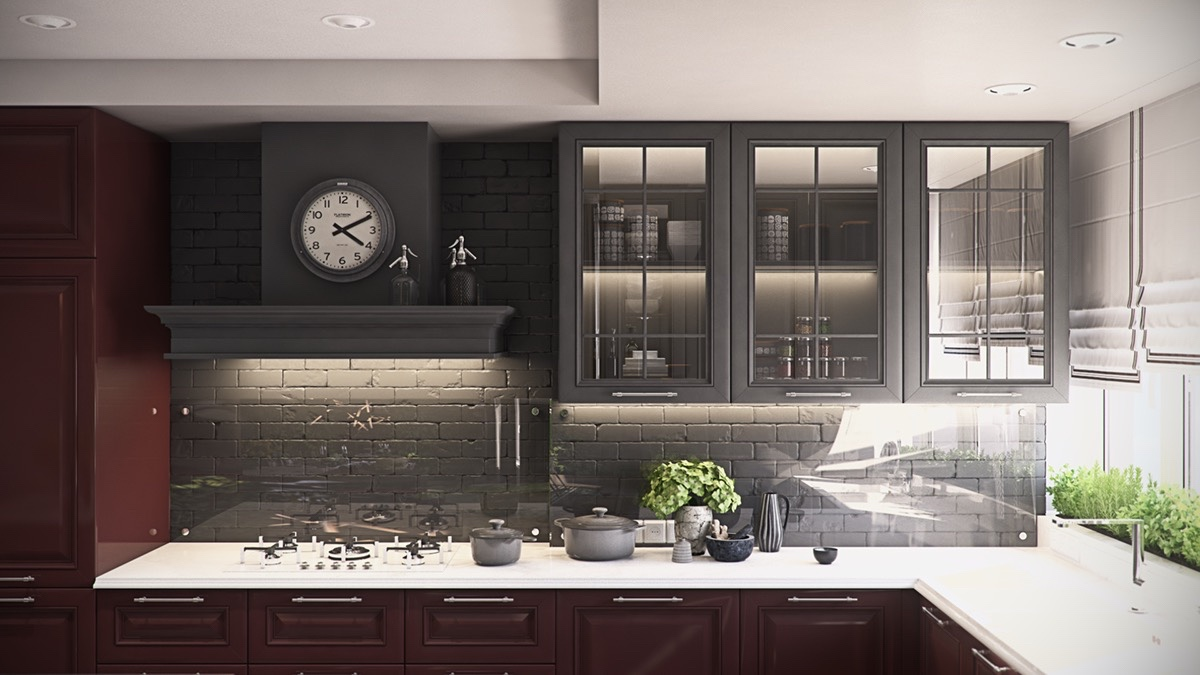 mahogany-elegant-kitchen-laquered-cabinetry-green-potted-plant