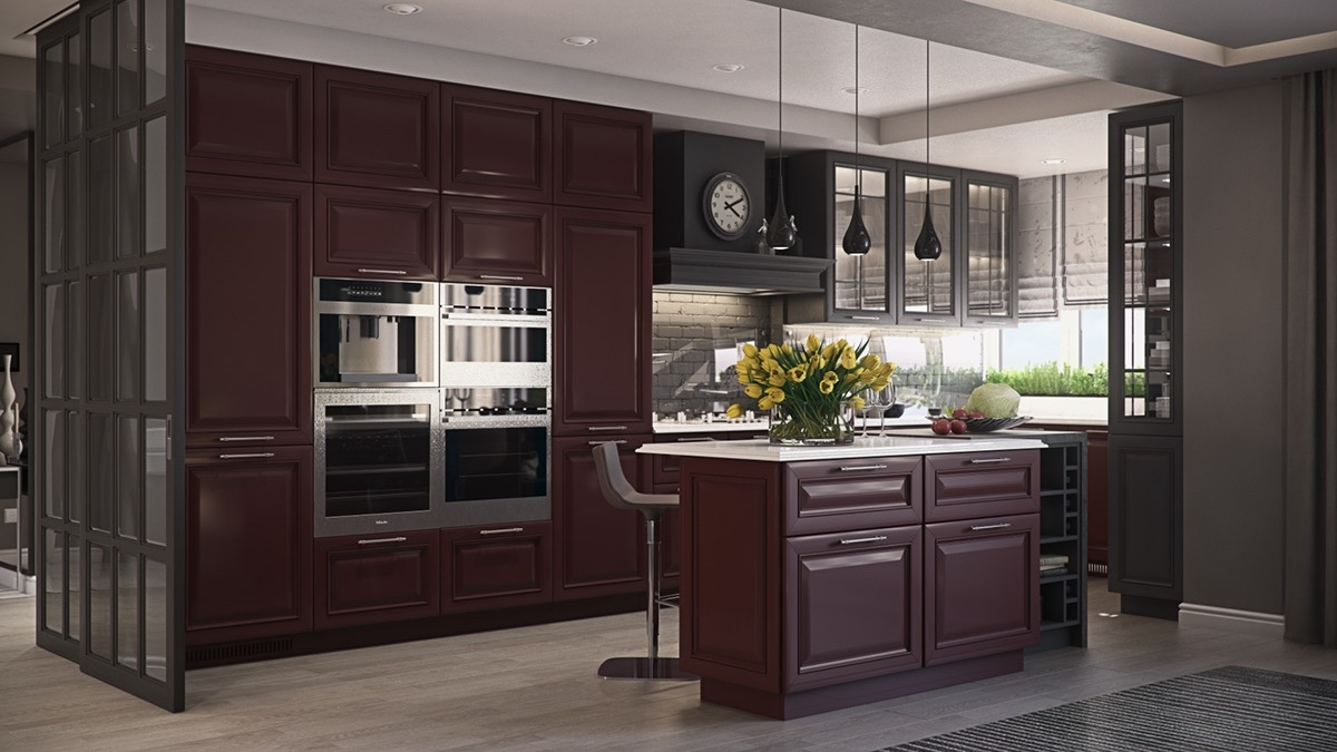 mahogany-glazed-cabinetry-french-window-cabinetry-laquered-kitchen