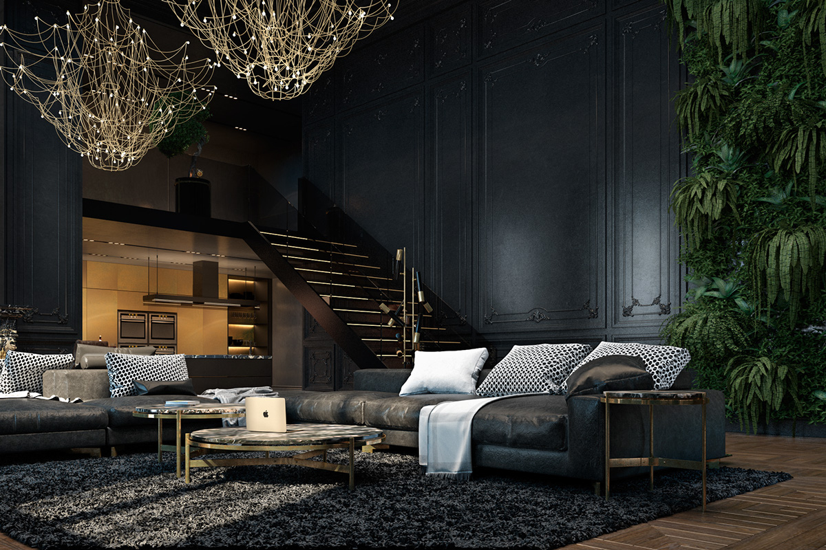 Dark Apartment Living Room 3 living spaces with dark and decadent black interiors