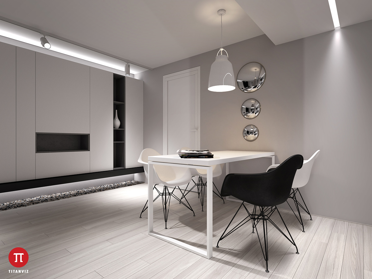 Mostly white, the dining room adds black as a point of difference. Black insert shelving wows amidst white panelled walls; white lights sit beside chrome fixtures, that act as an intermediary between the two. A grey kitchen bench both functions and breaks the drama.