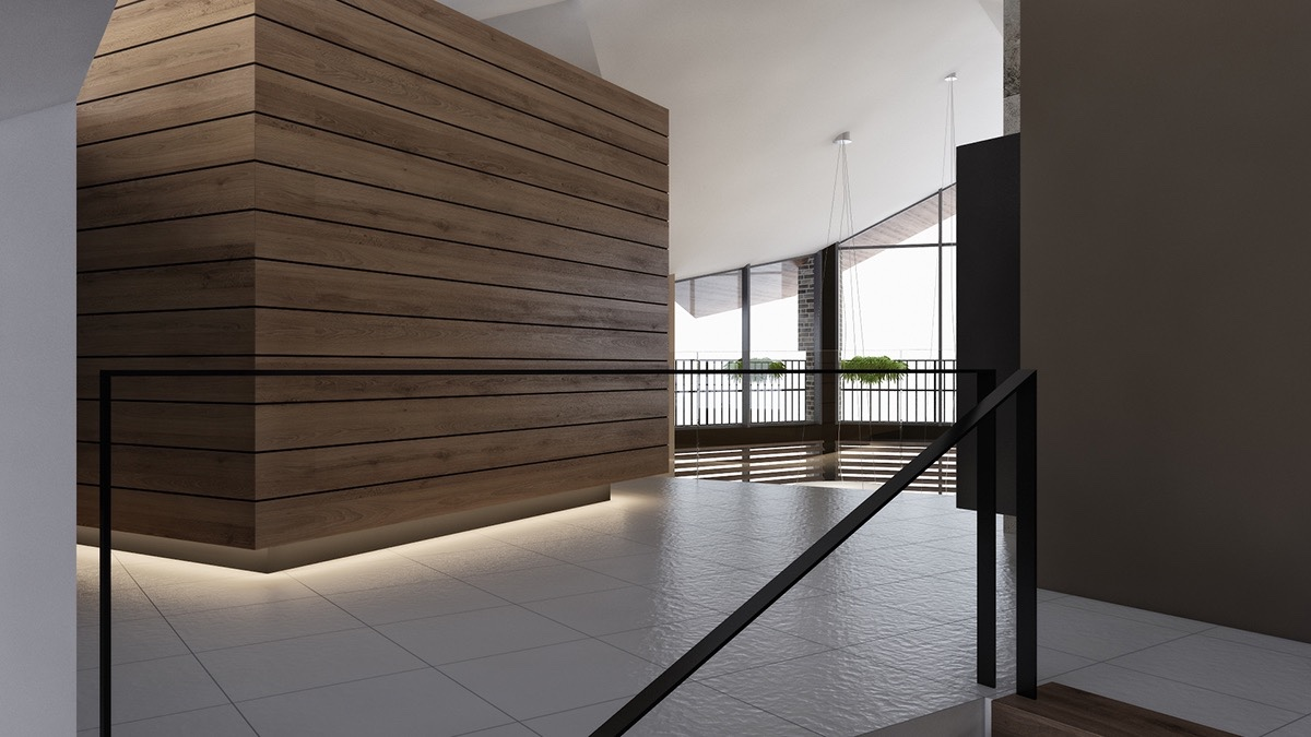 multi-level-corridor-under-lit-wooden-panels-minimal-railing