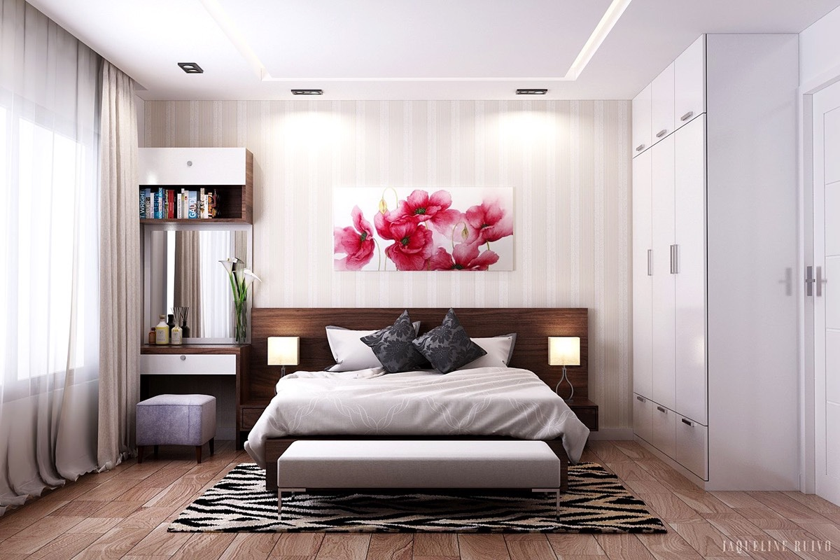Patterns can be bold and competing – if they are held well in the space. Beige-striped walls and a similarly wooden-striped floor hold no barriers to a pink poppy painting and zebra rug.