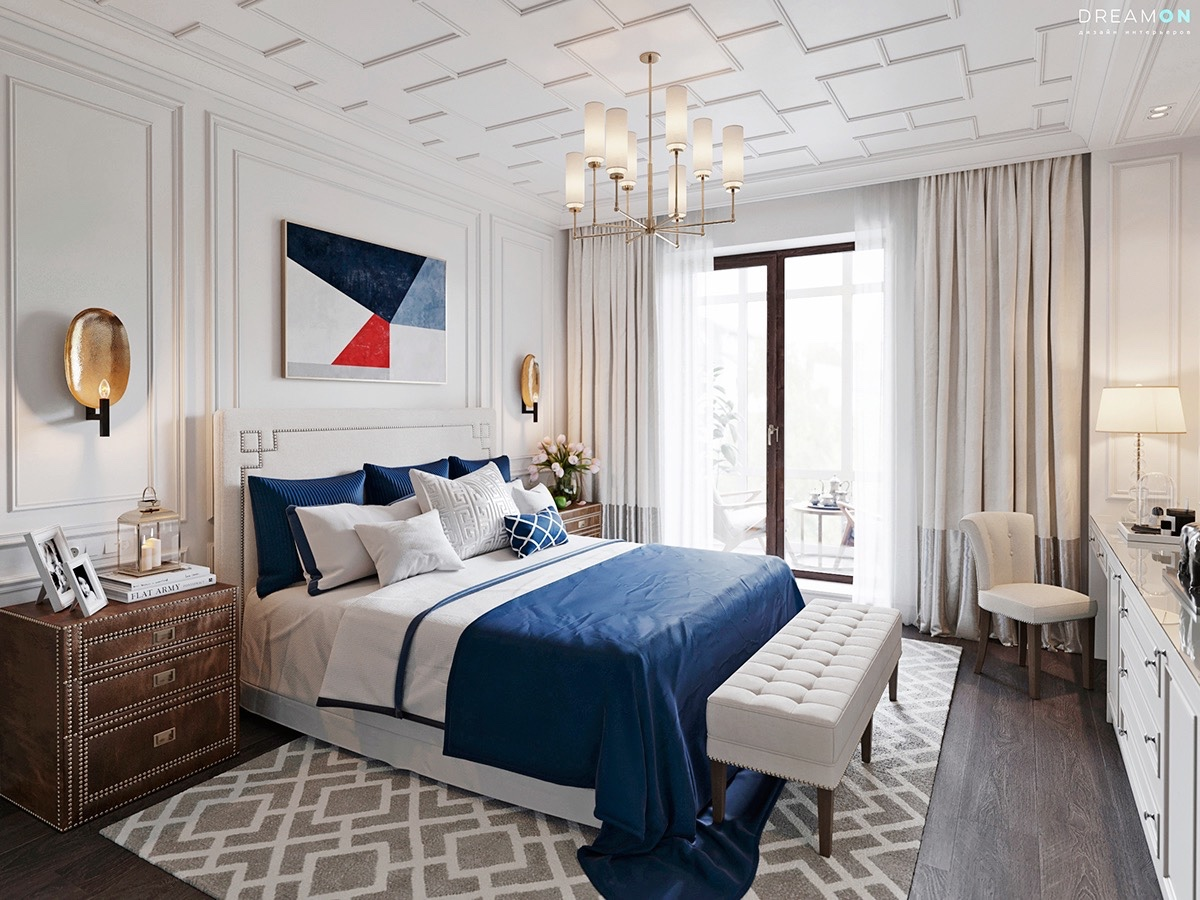белые спальни белые спальни Белые спальни - ваш райский уголок Nationalistic theme bedroom blue red and white olden brown draw set