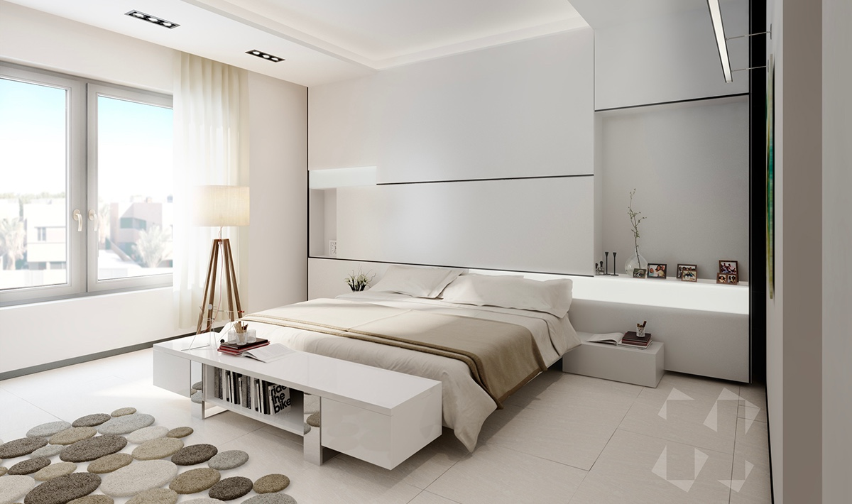 Nature often seems harsh, but doesn't have to be in the bedroom. Leading towards the bed with flattened stepping stones, a standing wooden lamp and low-lying furniture invite calm in minimalist colouring.