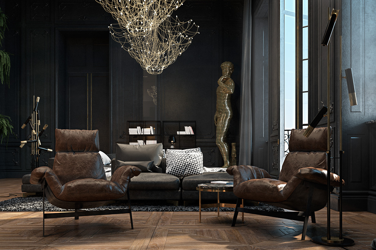 opulent-living-room-cobweb-chandeliers-gilded-statue-of-david