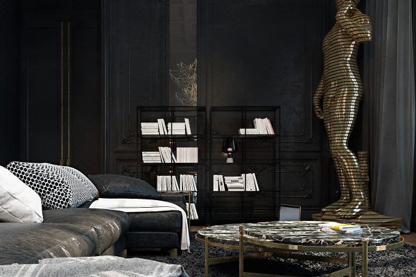 On the other side of the armchairs marble portoro wows in the fireplace a focal point telescopic lights in brass and dark gloss hang from stands which