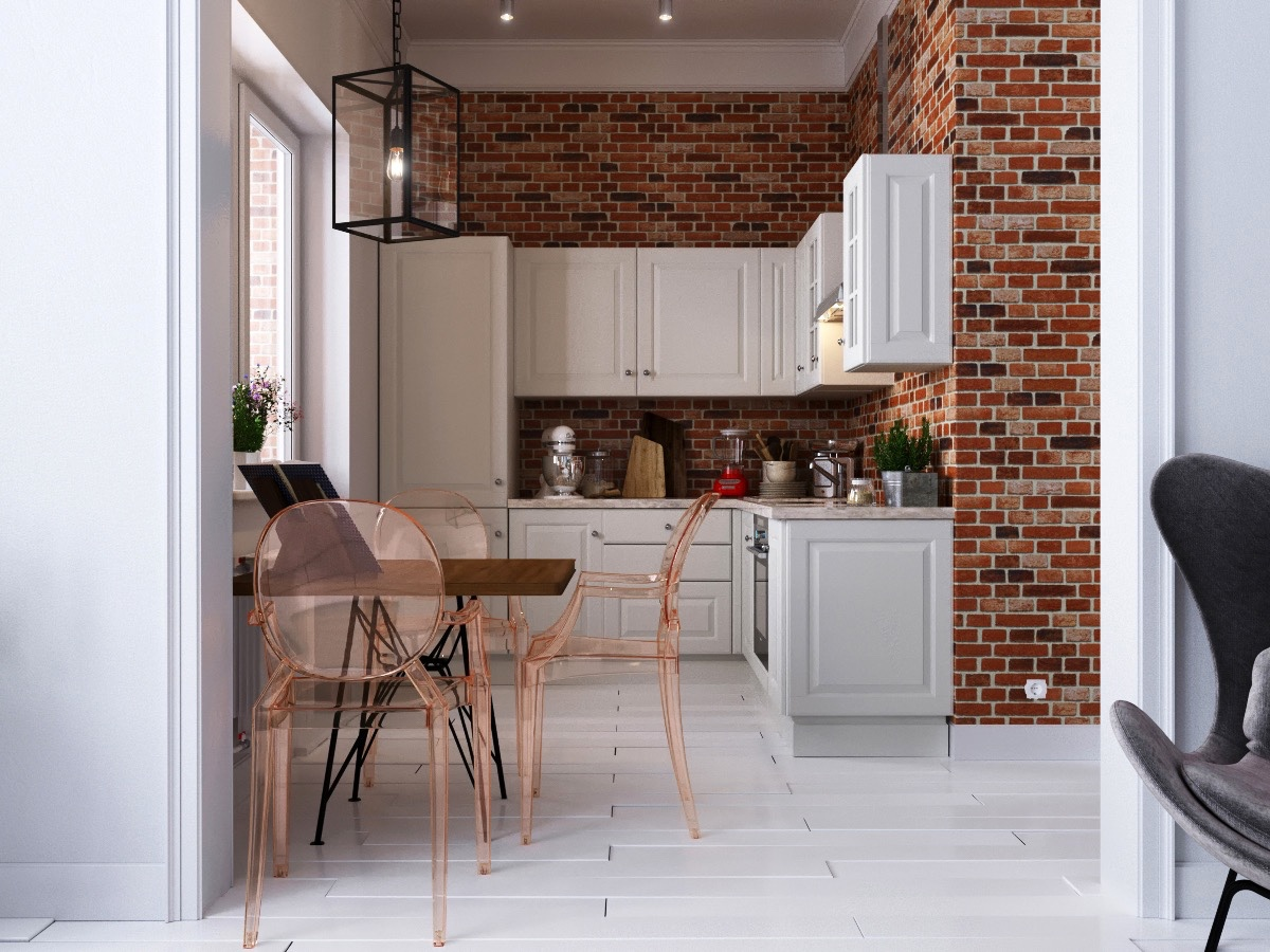 Rustic country kitchen exposed brick walls white cabinetry light wood