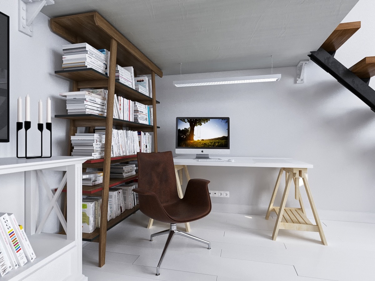 A study hides downstairs with simple wooden features. A rough-shod wooden bookcase looks natural paired with a different-wood desk and cow-hide chair. LED lights make the space modern, much like the glass-and-iron ore lights in the kitchen.