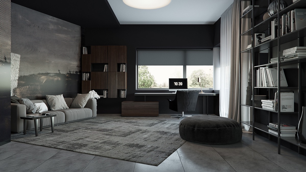 3 living spaces with dark and decadent black interiors Shades of gray for living room